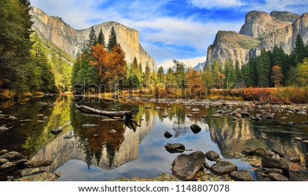 El Capitan and Merced River in the Autumn, California-USA #1148807078