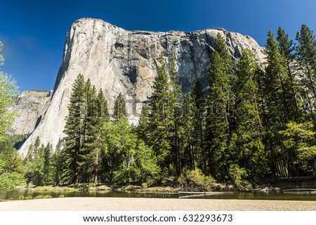 El capitan granite rock seen from the Yosemite Valley, Yosemite National Park, USA