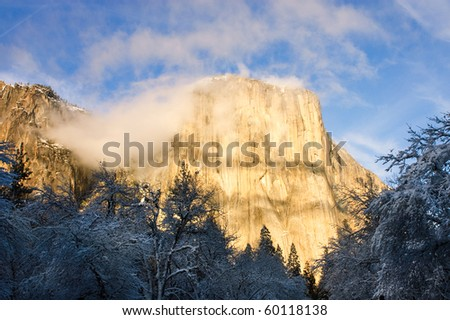 El Capitan in Yosemite valley during the winter in California