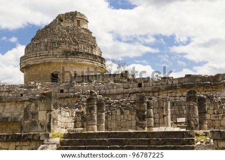 El Caracol: the observatory at the Maya archaeological site of Chichen Itza, Mexico (Yucatan).