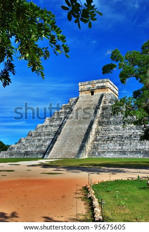El Castillo (Pyramid of Kukulcan) in Chichen Itza, Quintana Roo, Mexico. Mayan ruins  near Cancun considered one of the seven wonders of the world.