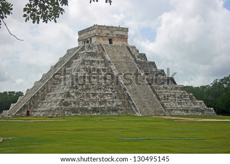 El Castillo Temple known as Kukulkan Pyramid in Chichen Itza, Mexico - stock photo