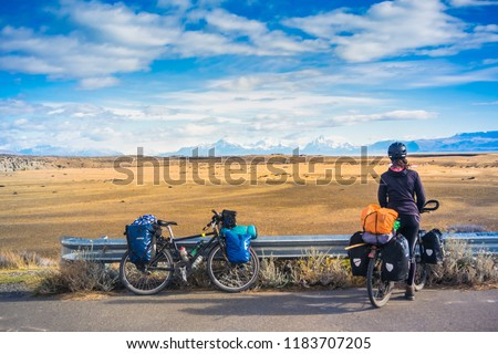 El Chalten / Santa Cruz / Argentina - April 08, 2018: Bicycle tour at Patagonia.
