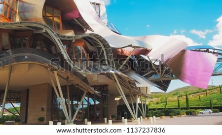 El ciego, Alava, Spain, September 2011, Hotel Marques de Riscal. This hotel is famous for its wineries, vineyards and wine, it is located in the famous area of La Rioja, known for its fine wines #1137237836