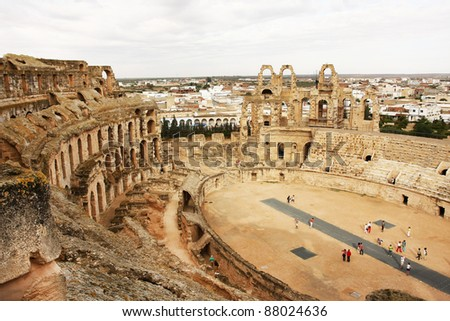 El Djem coliseum in Tunisia. The 3th largest coliseum in the world.  The ruins were declared World Heritage Site in 1979.