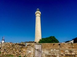 El Hank Lighthouse constructed in 1916, 50 m tall, abandoned facility.  - Casablanca, Morocco, taken in Dec 2019.