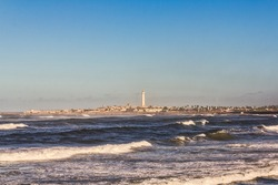 El Hank lighthouse (Pointe d'el-Hank Light), located on cap El Hank, west of the port of Casablanca (Casablanca-Settat region - Morocco).