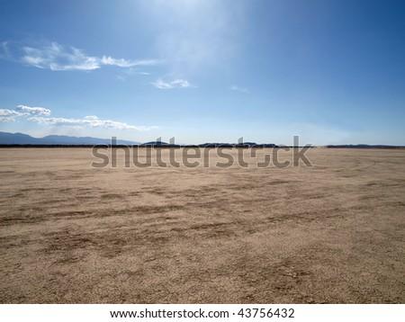 El Mirage dry lake in California's Mojave Desert. - stock photo