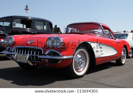 EL MONTE, CALIFORNIA, USA - SEPTEMBER 23:A variety of rare vintage cars on display at the El Monte Airshow on September 23, 2012.  1958 Chevrolet Corvette Roadster with 290 HP V-8 engine.