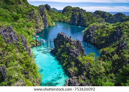 El Nido, Palawan, Philippines, aerial view of beautiful lagoon and limestone cliffs.