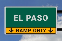 El Paso logo. El Paso lettering on a road sign. Signpost at entrance to El Paso, USA. Green pointer in American style. Road sign in the United States of America. Sky in background