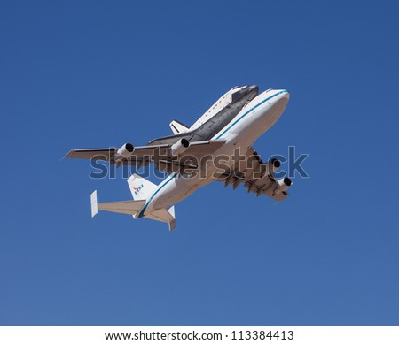 EL PASO -Â?Â? SEPTEMBER 20.  Space shuttle Endeavour, on top of NASA's 747, takes off from Biggs Airfield on September 20, 2012 at El Paso, Texas. - stock photo
