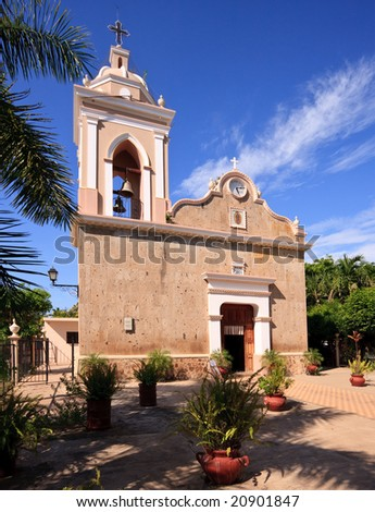 El Quelite church and patio on bright sunny day
