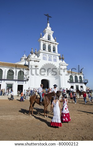 EL ROCIO, ANDALUCIA, SPAIN - MAY 12: Participants get ready to take part of the Romeria del Rocio pilgrimage on May 12, 2011 in El Rocio. The traditional pilgrimage can be traced back to the 15th century.