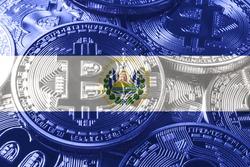 El Salvador bitcoin flag, national flag cryptocurrency concept black background