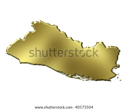 El Salvador 3d golden map