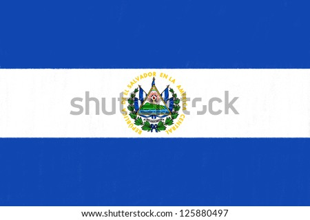 El Salvador flag drawing by pastel on charcoal paper