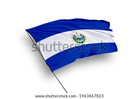 El Salvador flag isolated on white background with clipping path. close up waving flag of El Salvador. flag symbols of El Salvador.