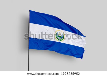 El Salvador flag isolated on white background with clipping path. close up waving flag of El Salvador. flag symbols of El Salvador. El Salvador flag frame with empty space for your text.