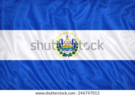 El Salvador flag pattern on the fabric texture ,vintage style