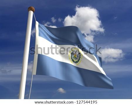 El Salvador flag (with clipping path)