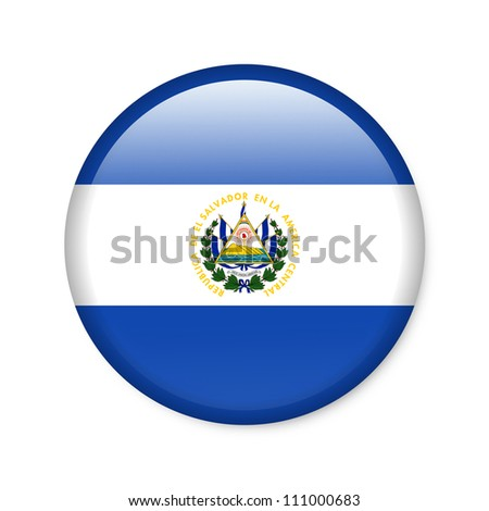 El Salvador - glossy button with flag