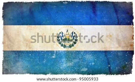 El Salvador grunge flag