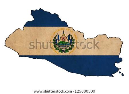 El Salvador map on El Salvador flag drawing ,grunge and retro flag series