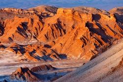 El Valle de la Luna (Valley of the Moon) near San Pedro de Atacama in the Cordillera de la Sal region of the Atacama desert in northern Chile, South America.