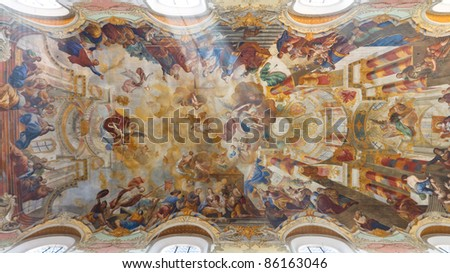Elaborate ceiling frescos at baroque church in Biberach, Germany.