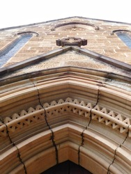 Elaborate sandstone carving at the front of a church