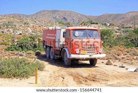 ELAFONISI, GREECE - SEPTEMBER 10: Old fire fire truck at Elafonisi on September 10, 2013 in Elafonisi