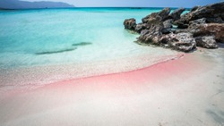 Elafonisi Lagoon, Crete Island, Greece. Elafonissi beach is one of the best beaches of Europe. There are pink  sand.