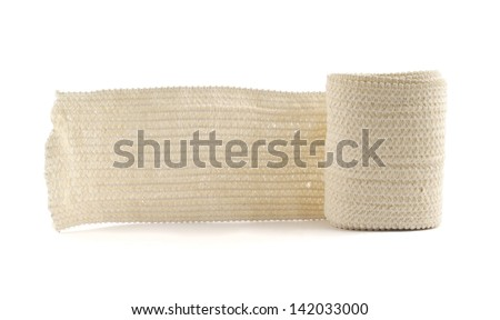Elastic ACE compression bandage warp unwrapped, isolated over white background