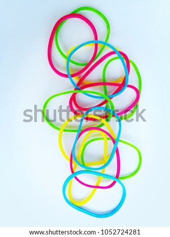 elastic band,Colorful rubber band,Rubber Band, Elastic, Elastic Band, Full Color , Colorful rubber band,ring shapes colorful rubber band.  colorful rubber bands isolated on white background . #1052724281