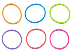 Elastic band rubber, multicolor rubber bands isolated on on white background, Colored elastic rubber bands