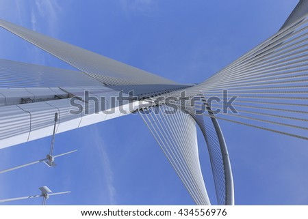 Elasticity of the bridge's string and the futuristic architecture #434556976