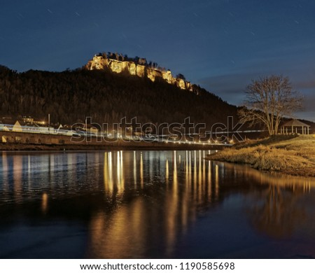 Elbe Sandstone Mountains - Night view of the fortress