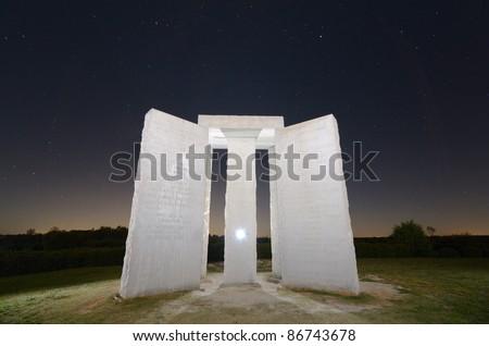 "ELBERT, GEORGIA - OCTOBER 15: The Georgia  , occasionally referred to as ""American Stonehendge"" October 15, 2011 in Elbert, GA. The inscription is 10 principles in 8 different langauges."