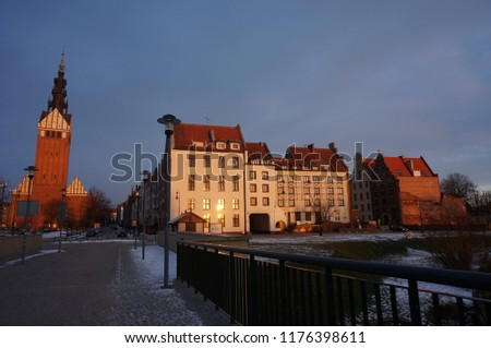 Elblag downtown wintry eventide #1176398611