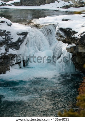 Elbow Falls in Winter, Kananaskis Country, Alberta, Canada