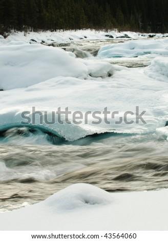 Elbow Falls in Winter, Kananaskis Country, Alberta, Canada