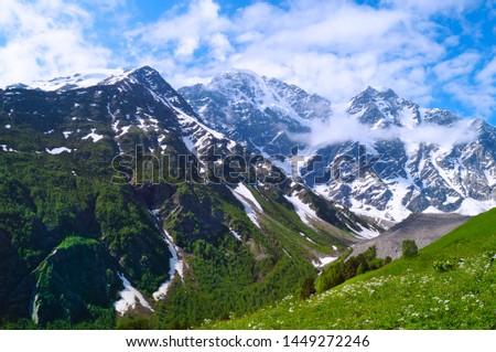 Elbrus area, Greater Caucasus Range. Elbrus, mountains in summer. Greater Caucasus Mountains from Mount Elbrus