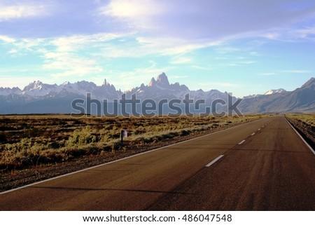 Elchalten road with view to the Fitz Roy mountain.