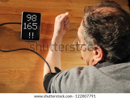 Elder men with hypertension measuring blood pressure