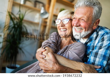 Elderly couple in love. Senior husband and wife hugging and bonding with true emotions Stock foto ©