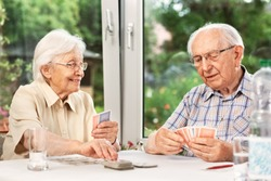 Elderly Couple in the Living Room, Playing Cards