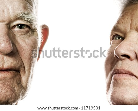 Elderly couple portrait. Isolated on white background