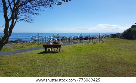 Elderly couple seated looking out to sea