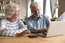 Elderly couple sitting at table using laptop and online banking feels satisfied checking utility bills or financial statement papers, easy access, reading good news received letter from bank concept